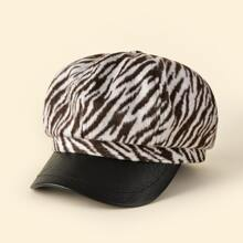 Zebra Striped Baker Boy Cap