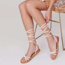 Strappy Ankle Wrap Open Toe Flat Sandals