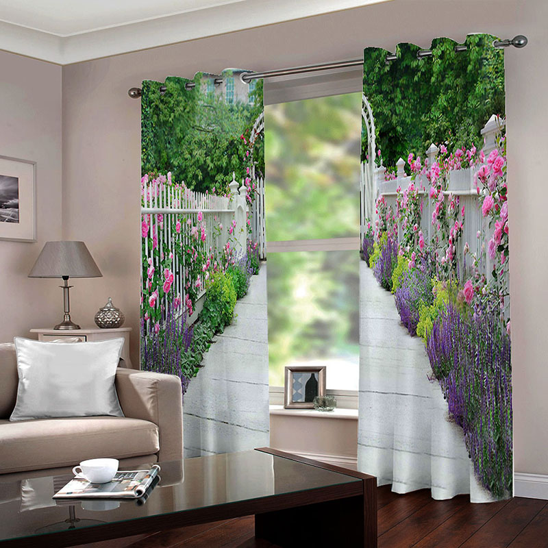 3D Room Darkening Blackout and Decorative Curtains Thick Shading Polyester No Pilling No Fading No off-lining Machine Washable