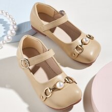 Toddler Girls Faux Pearl Decor Square Toe Flats