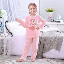 Toddler Girls Cartoon Mermaid Embroidery Flannel Pajama Set
