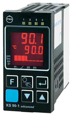 P.M.A KS90 PID Temperature Controller, 96 x 48 (1/8 DIN)mm, 3 Output Relay, 90  250 V ac Supply Voltage ON/OFF