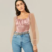 Satin Top mit transparenten Ärmeln