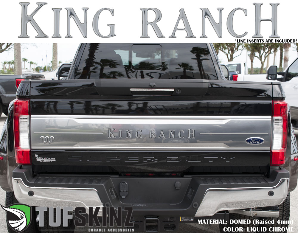 Tufskinz SUP041-DC-G Tailgate Inserts w/Line Inserts Fits 2017-2021 Ford Super Duty King Ranch 11 Piece Kit in Liquid Chrome