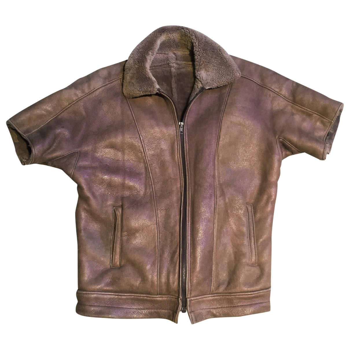 Non Signé / Unsigned \N Beige Leather Leather jacket for Women 38 FR