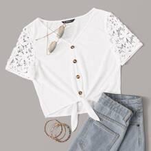 Guipure Lace Self-Tie Buttoned Crop Top