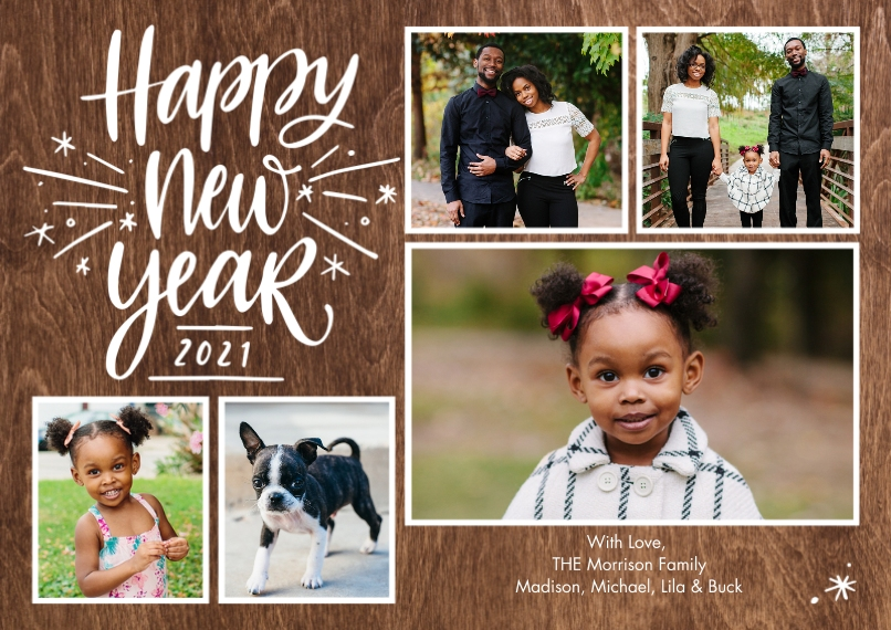New Years Photo Cards Flat Matte Photo Paper Cards with Envelopes, 5x7, Card & Stationery -2021 New Year Sparkling by Tumbalina
