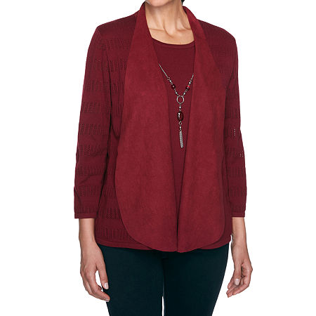 Alfred Dunner Madison Avenue Womens 3/4 Sleeve Layered Sweaters, Petite Large , Red