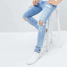 Men Ripped Pocket Detail Solid Jeans