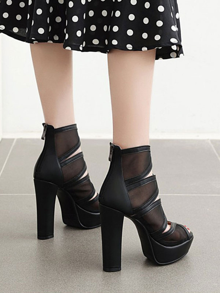 Milanoo Black Summer Boots Round Toe Chunky Summer Ankle Boots