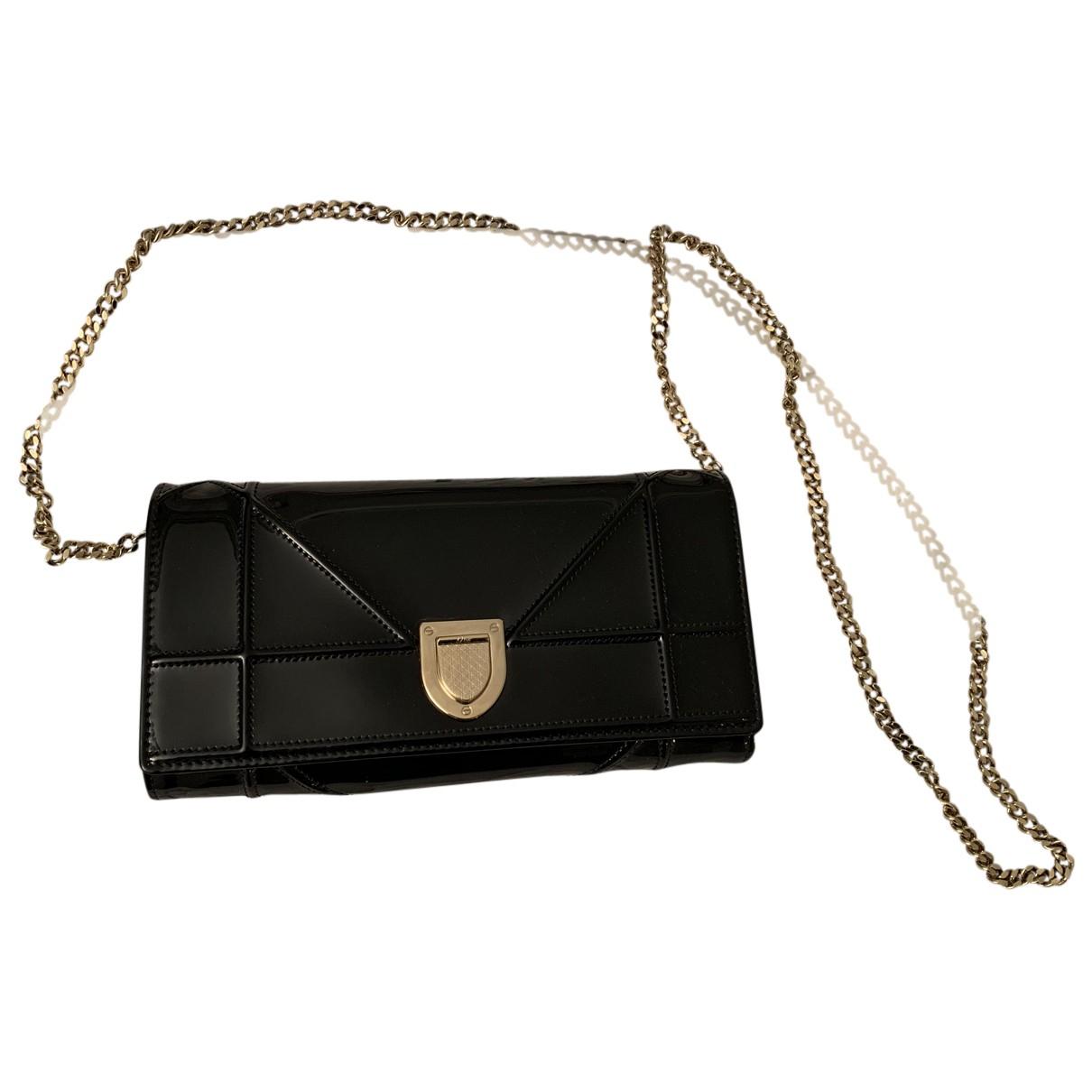 Dior - Pochette Diorama pour femme en cuir verni - noir