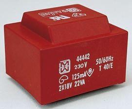 Myrra 12V ac 2 Output Through Hole PCB Transformer, 22VA