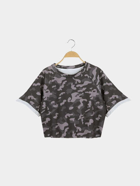 Yoins Street Style Crop Top With Camouflage Pattern