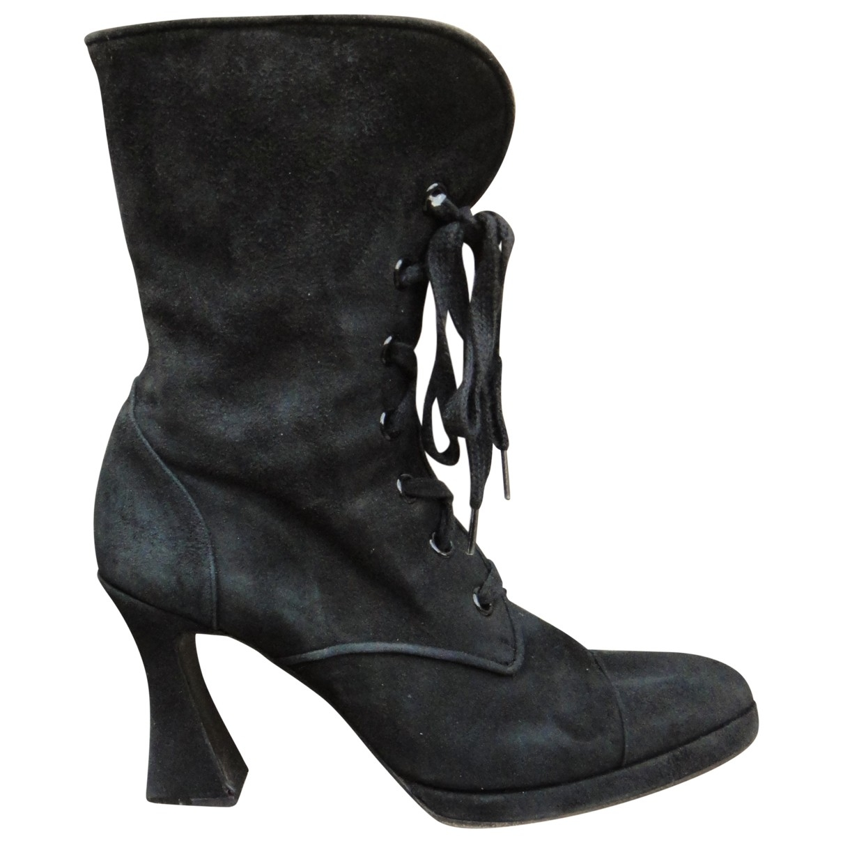 Chanel \N Stiefel in  Schwarz Veloursleder