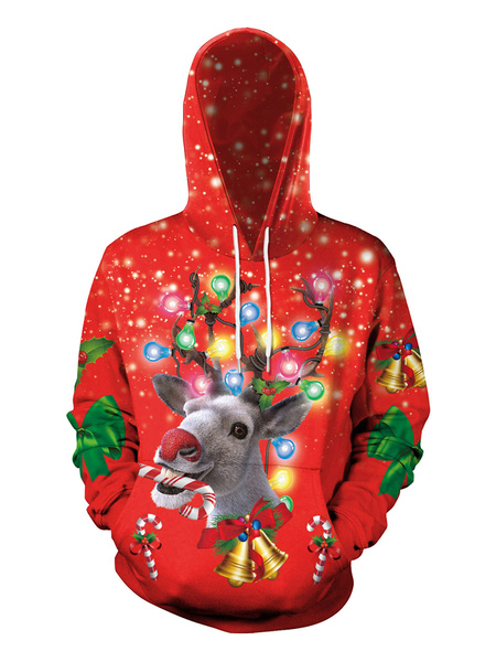 Milanoo Red Hoodies Christmas Top Polyester Fiber Christmas Pattern Casual Holidays Costumes