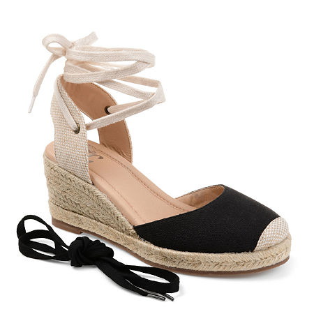 Journee Collection Womens Monte Lace-up Round Toe Espadrille Wedge, 6 Medium, Black