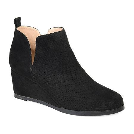 Journee Collection Womens Mylee Booties Wedge Heel, 9 Medium, Black