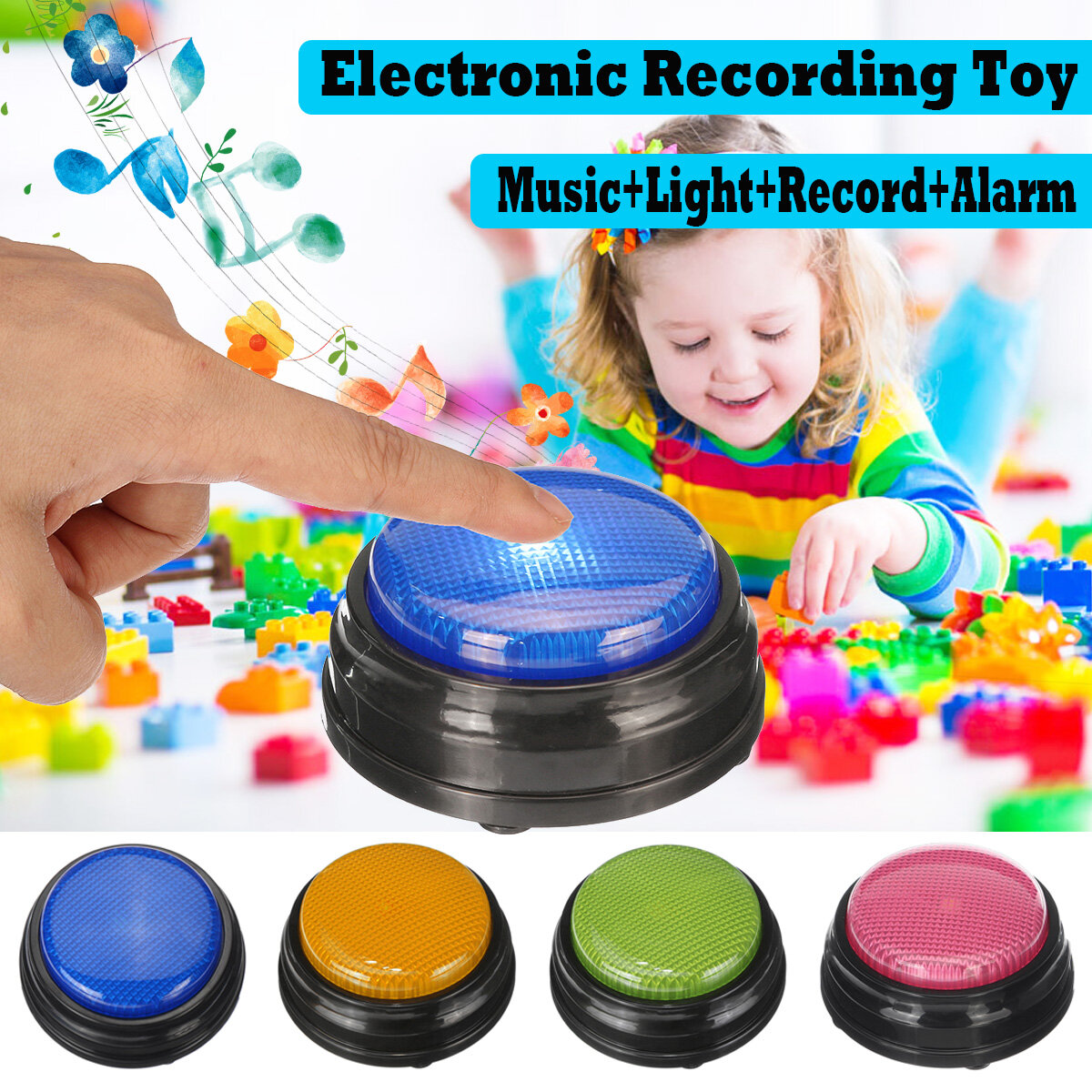 Squeeze Led Recordable Talking Sound Button Game Buzzer For Kids Interactive Toy