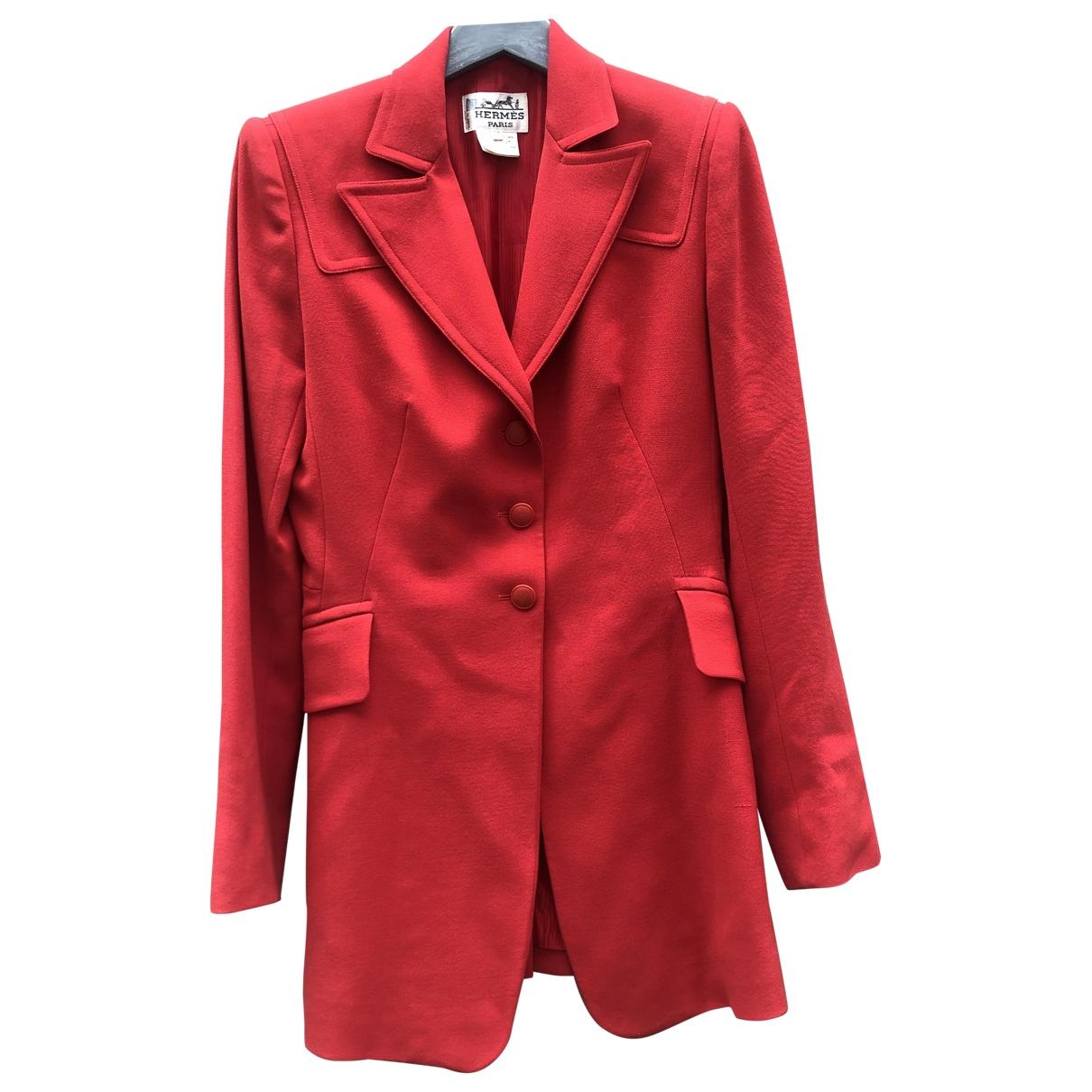 Hermes \N Jacke in  Rot Wolle
