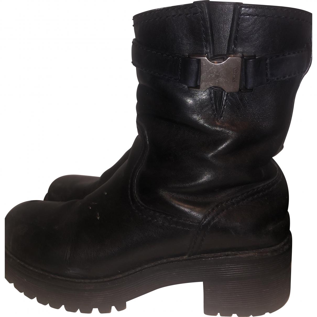 Prada \N Black Leather Boots for Women 36.5 EU