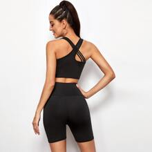 Crisscross Back Solid Tank Top & Biker Shorts