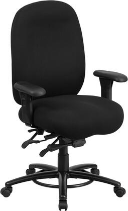 LQ-1-BK-GG HERCULES Series 24/7 Intensive Use  Multi-Shift  Big & Tall 350 lb. Capacity Black Fabric Multi-Functional Swivel Chair with Foot