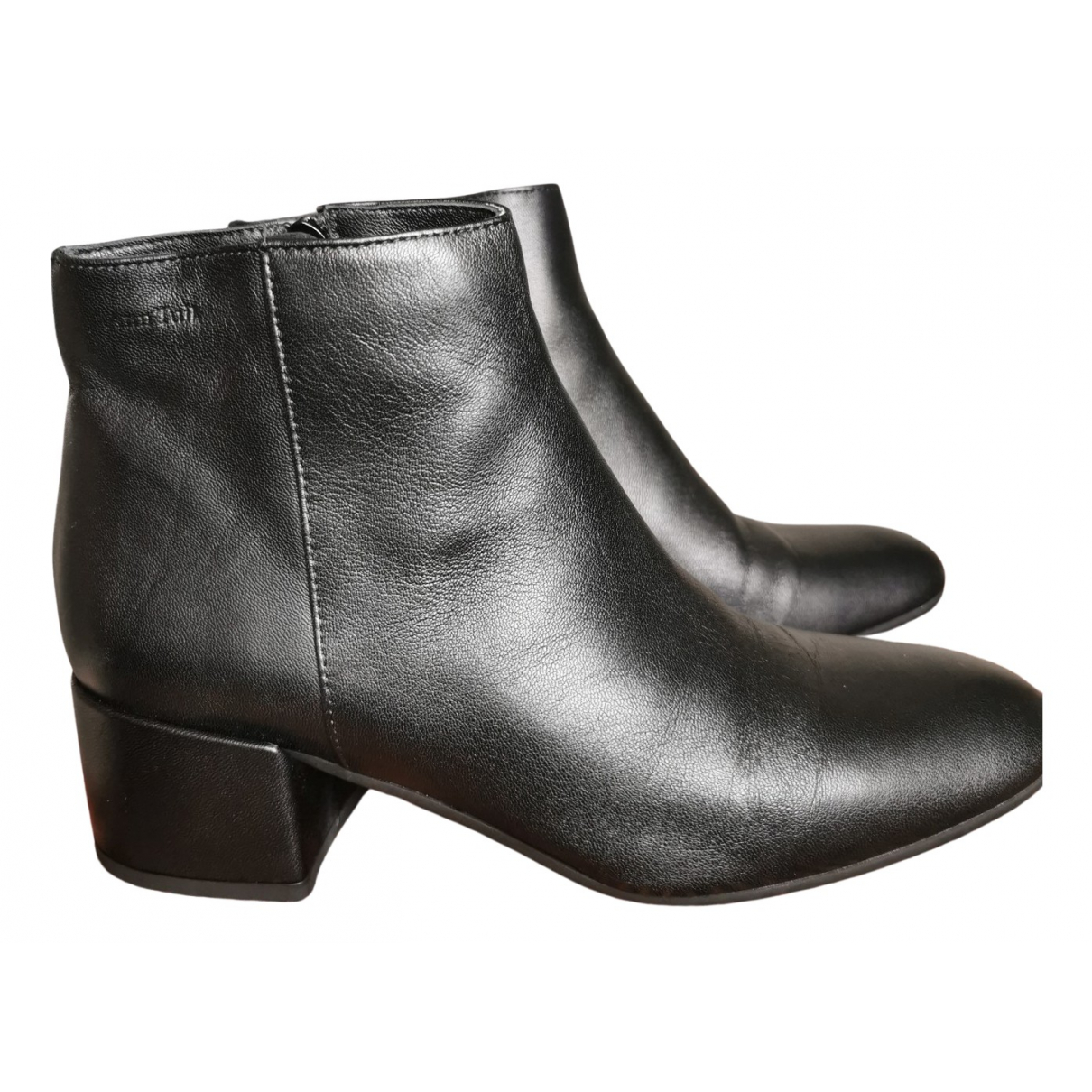 Ann Tuil N Black Leather Ankle boots for Women 37 EU