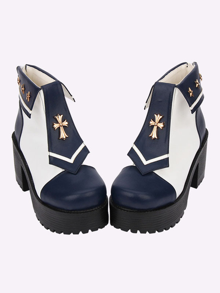 Milanoo Sweet Lolita Shoes Naval Style Platform Two Tone Deep Blue Lolita Boots