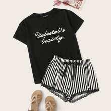 Top mit Buchstaben Muster und Shorts PJ Set mit Streifen und Spitzen