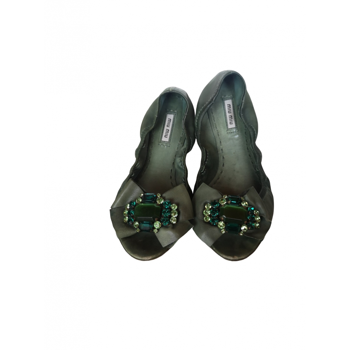 Miu Miu \N Green Leather Ballet flats for Women 41 EU