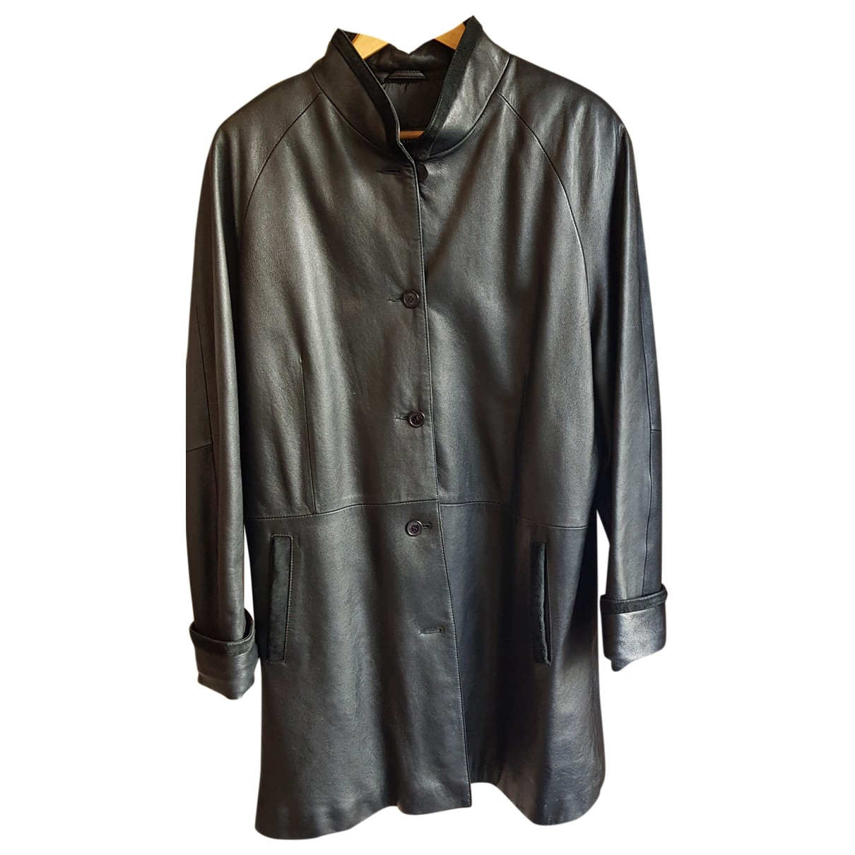 Non Signé / Unsigned \N Black Leather coat for Women 48 FR