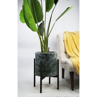UPshining 13'' Extra Large Mid-Century Modern Ceramic Planter Green Marble With Wood Stands (Ebony)