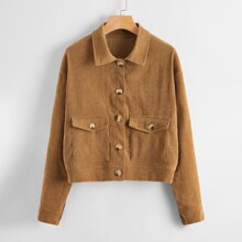 Corduroy Flap Pocket Button Up Jacket