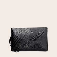 Croc Embossed Clutch Bag