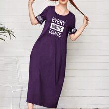 T-Shirt Kleid mit Buchstaben Grafik