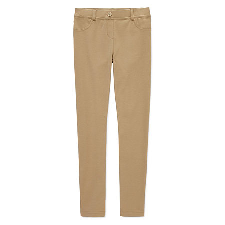 IZOD Stretch Fabric Little & Big Girls Pull-On Pants, 10.5 Plus , Beige
