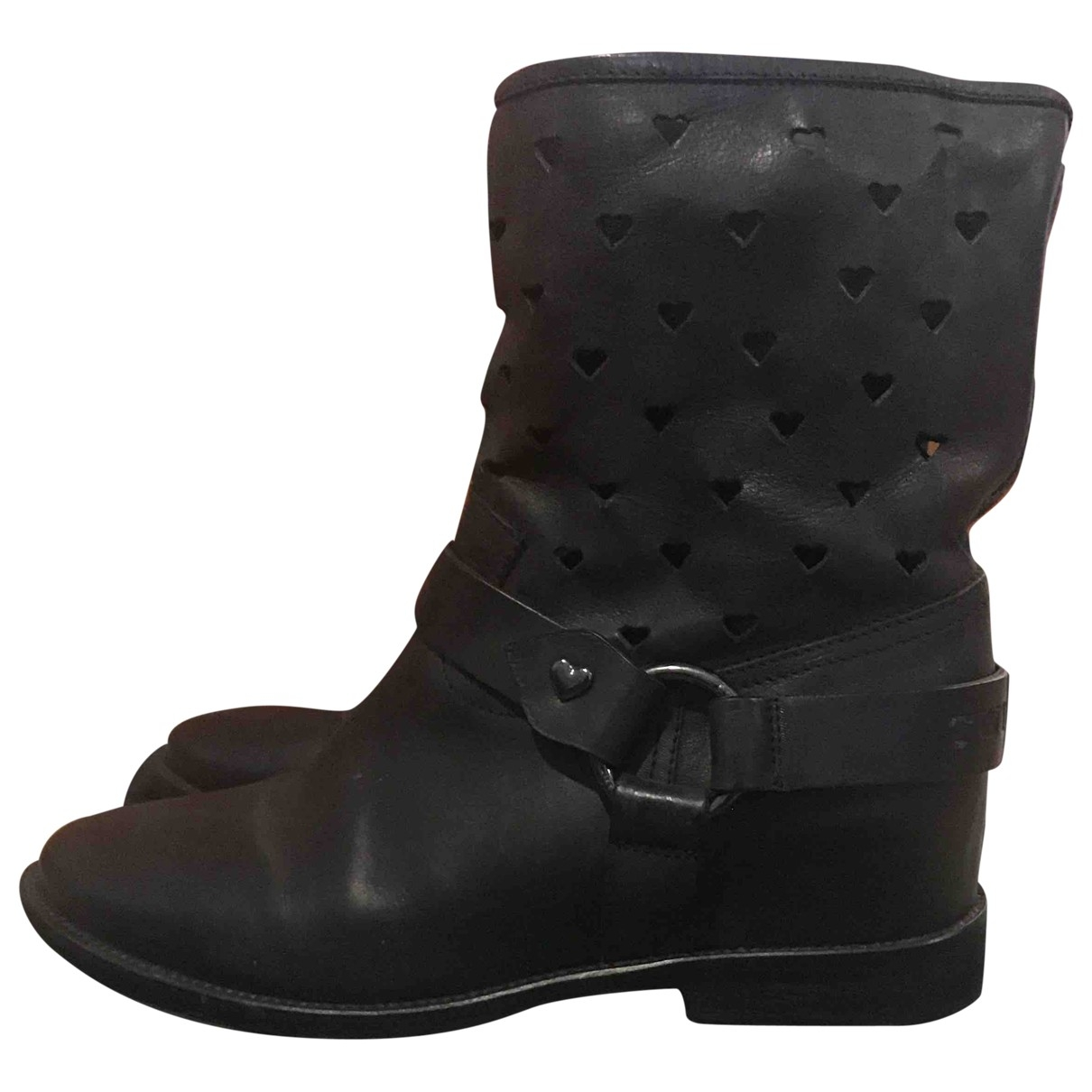 Twin Set \N Black Leather Boots for Women 38 EU