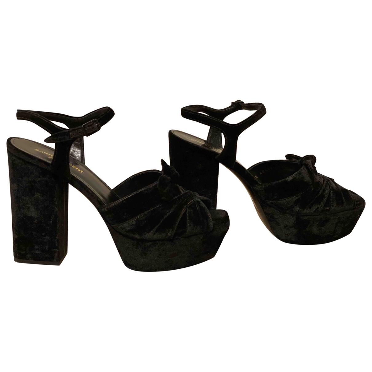 Saint Laurent - Sandales Farrah pour femme en velours - noir