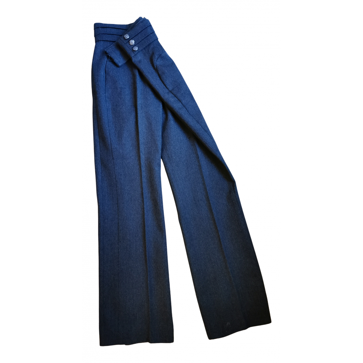 Non Signé / Unsigned N Anthracite Wool Trousers for Women 38 FR
