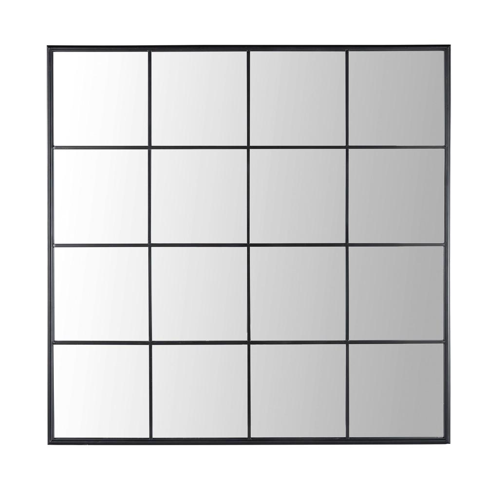 Spiegel in Fensteroptik mit schwarzem Metallrahmen 122x122