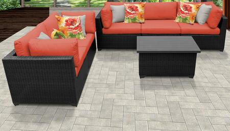Belle Collection BELLE-06d-TANGERINE 6-Piece Patio Set 06d with 4 Corner Chair   1 Armless Chair   1 Coffee Table - Wheat and Tangerine