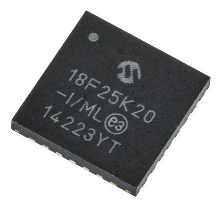 Microchip PIC18F25K20-I/ML, 8bit PIC Microcontroller, PIC18F, 64MHz, 32 kB, 256 B Flash, 28-Pin QFN (2)