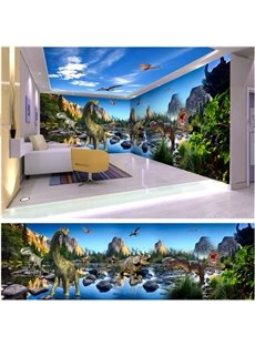 Amusing Design Dragons in Jurassic Period Pattern Waterproof Combined 3D Ceiling and Wall Murals