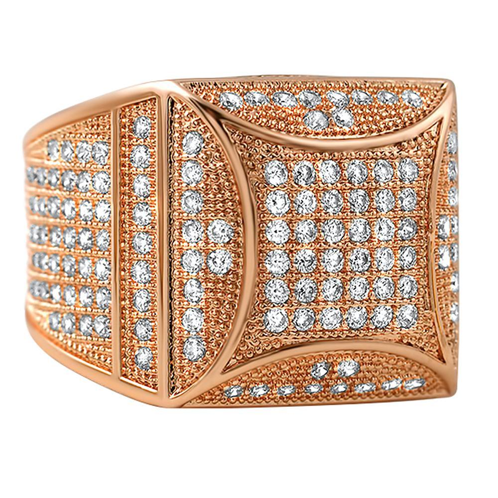 Kite Box Bling Bling Rose Gold CZ Micro Pave Ring