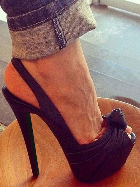 Milanoo Womens Sexy Sky High Peep Toe Slingback Platform Knotted Pumps in Black
