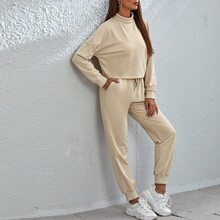 Drop Shoulder Solid Sweatshirt & Drawstring Waist Pants Set