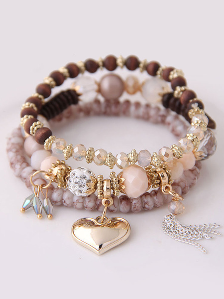 Milanoo Beaded Stacking Bracelets Set Heart Tassel Charm Bracelet
