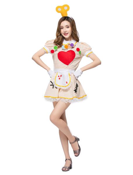 Milanoo Maid Costume Halloween Women Servant Girl Short Dresses