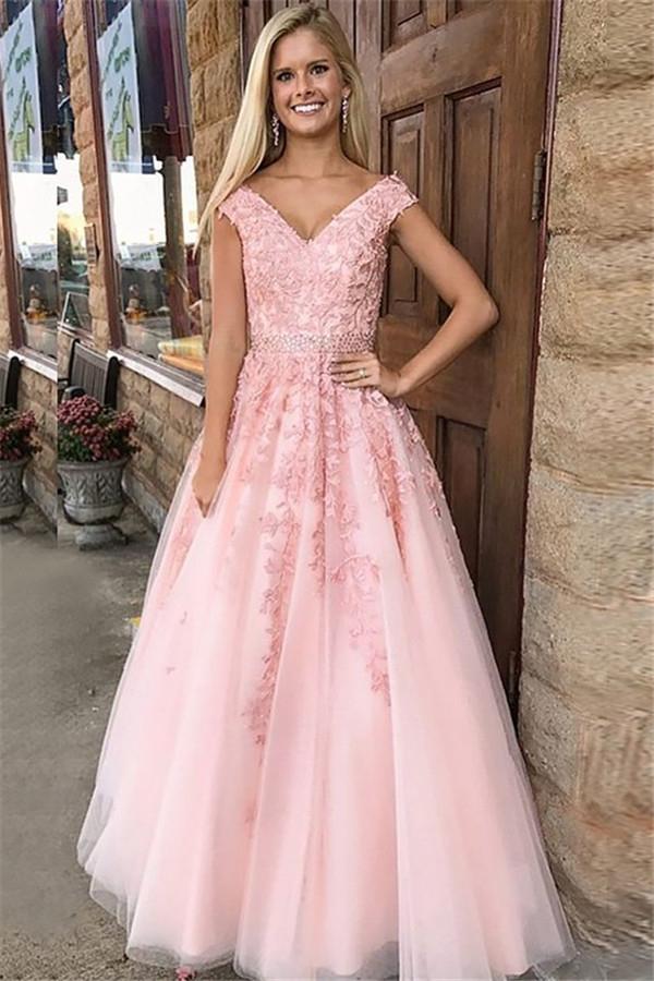 Belles robes de bal rose hors de lepaule   Appliques cristal robes de soiree sans manches avec ceinture