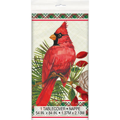 Red Cardinal Christmas Rectangular Plastic Table Cover, 54